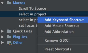 phpstorm key binding on macro