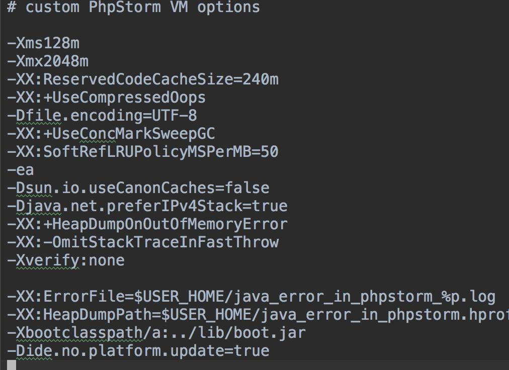 phpstorm custom vm option